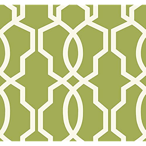 York Wallcoverings GE3666 Ashford Geometrics Hourglass Trellis Wallpaper Yellow Green White