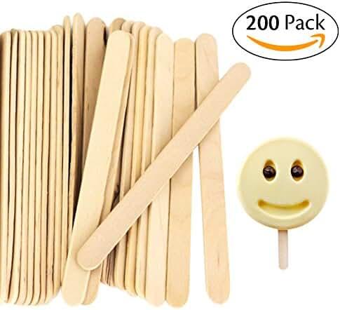 Acerich Craft & Ice Cream Sticks Wooden Popsicle Sticks 4-1/2