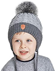 SOMALER Toddler Boys Fleece Lined Knit Beanies Hat with Earflap Warm Fur Pom Pom Kids Winter hat