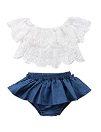 Aunavey Baby Girls Lace Floral Top Ruffles Shorts Sunsuits Set