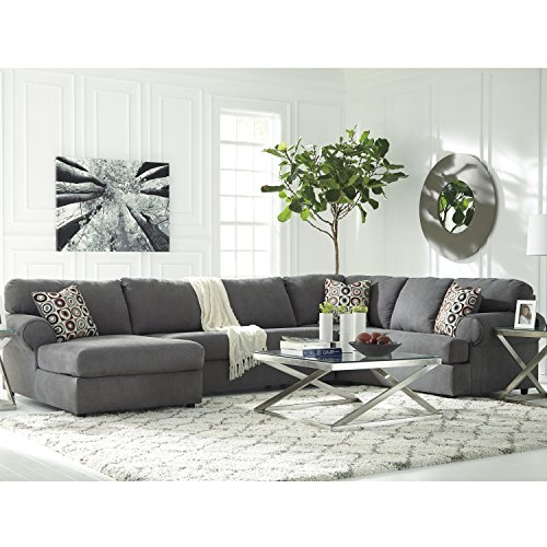 (Signature Design by Ashley Jayceon 3-Piece RAF Sofa Sectional in Steel Fabric)