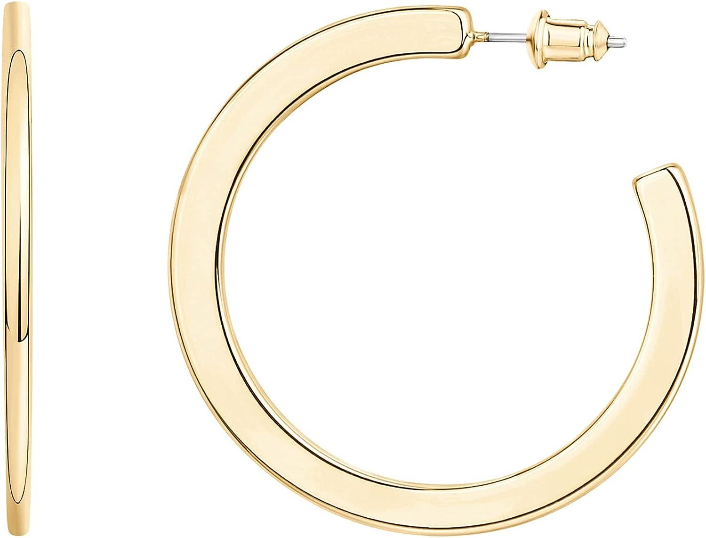 PAVOI 14K Gold Plated Hoop Earrings For Women   4mm Flat Infinity Gold Hoops Women Earrings   Gold Plated Loop Earrings For Women   Lightweight Hoop Earrings Set For Girls
