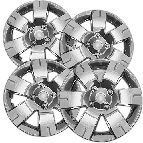 Hubcaps 15 inch Wheel Covers - (Set of 4) Hub Caps for 15in Wheels Rim Cover - Car Accessories Chrome Hubcap Best for 15inch Cars Standard Steel Rims - Snap On Auto Tire Replacement Exterior Cap