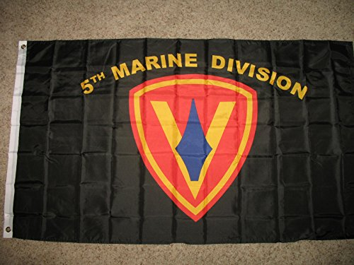 ALBATROS 3 ft x 5 ft USMC Marine Marines 5th Marine Division Flag Banner Brass Grommets for Home and Parades, Official Party, All Weather Indoors Outdoors ()