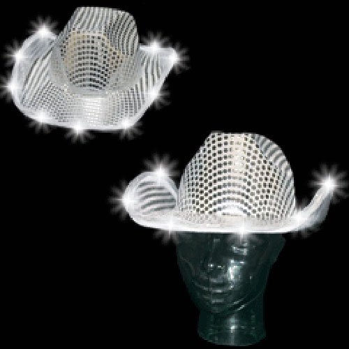 10 Light up Hats - Sequin LED Cowboy Hat