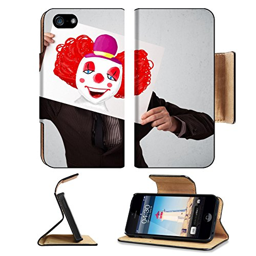 [MSD Premium Apple iPhone 5 iPhone 5S Flip Pu Leather Wallet Case iPhone5 IMAGE ID: 31279001 Young businessman holding a cardboard with a clown on it in front of his] (Costumes Out Of Cardboard Box)