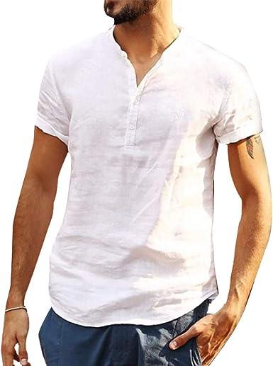 acelyn Henley Camisa cuello abuelo de lino y algodón manga corta para hombre S - XXL: Amazon.es: Ropa y accesorios