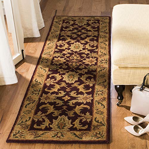 Safavieh Classic Collection CL244B Handmade Traditional Oriental Dark Plum and Gold Wool Runner (2'3