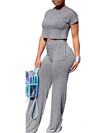 d328d73082e4 Amazon.com  Ophestin Women Sexy Short Sleeve Crop Top Wide Leg Pants Set 2  Piece Outfits Jumpsuits Rompers  Clothing