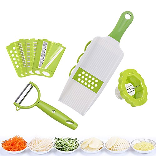 Ninuo 5 in 1 Mandoline Vegetable Potato Slicers Cutter Sets with 5 Blades,Safety Holder and Potato Peeler for Cutting Vegetable,Fruit