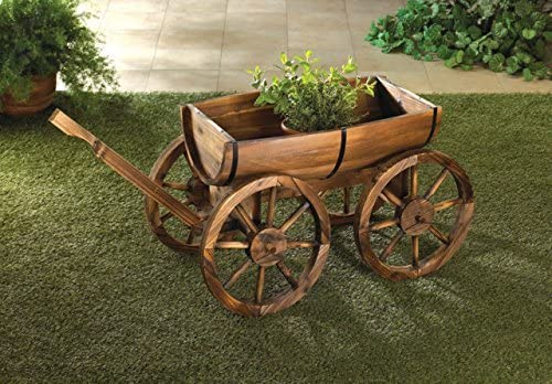 Amazon Com Garden Planters Wooden Wagon Wheel Wine Barrel Flower