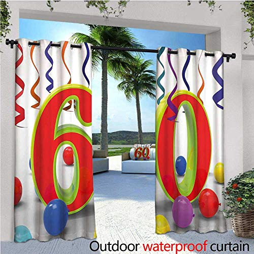 cobeDecor 60th Birthday Indoor/Outdoor Single Panel Print Window Curtain Party Confetti Swirls with The Baloons Ribbons and Green Orange 60 Number Silver Grommet Top Drape W84 x L108 Multicolor -