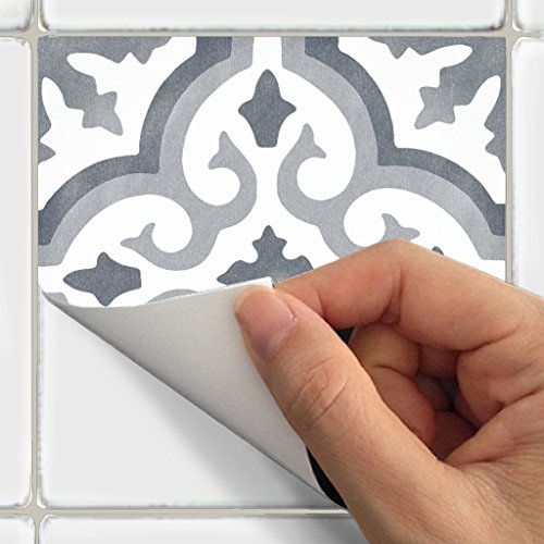 Stick Tiles And Ceramic Peel (Tile Stickers Marrakesh 24pc 4x4in Peel and Stick for kitchen and bath M009-4)