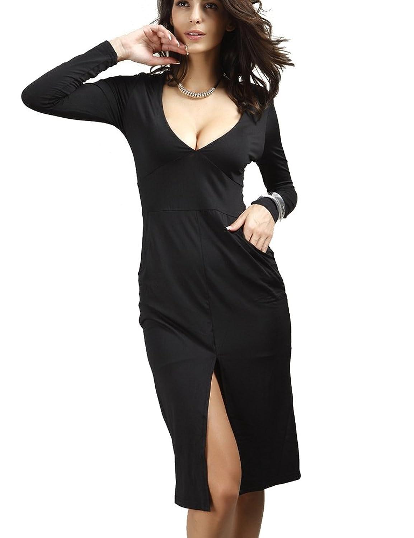 Sophia17 Women Sexy Plunge V Neck Long Sleeve Side Split Clubwear Bodycon Midi Dress With Pocket
