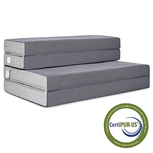 (Best Choice Products 4in Thick Folding Portable Full Mattress Topper w/ High-Density Foam, Washable Cover)