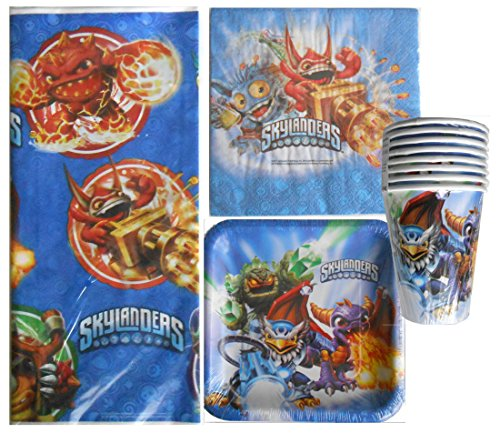 Skylanders Party Pack for 8 Guests Plates, Cups, Napkins, Table Cover