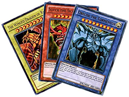 YuGiOh Legendary Collection Ultra Rare God Card Set of 3 Egyptian God Cards Slifer, Obelisk Ra