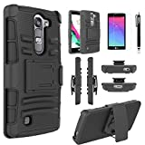 LG Volt 2 Case, Combo Shell Cover Kickstand with Built-in Holster Locking Belt Clip+Circle(TM)Touch Screen Pen And Tempered Glass Screen Protector-Black