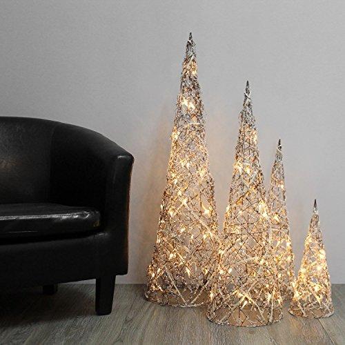 Weihnachtsbeleuchtung Kegel.Wohaga 4er Set Weidenkegel Mit Beleuchtung H40 60 80 100cm Beleuchtete Kegel Für Innen Weihnachtsdekoration Weihnachtsbeleuchtung Natur Mit