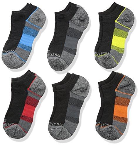 Fruit of the Loom Big Boys' 6-Pair Half Cushion No Show Socks, Black Assort, Shoe Size: 3–9 - Cushion Socks Show