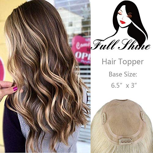 Full Shine Hidden Crown Topper For Womens Hairpiece 18 Inch 60g Human Topper Straight Top Base Color #3 Highlight #27 Honey Blonde Invisible Hair Topper For Thinning Hair 6.5
