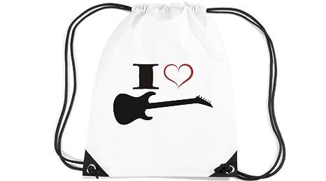 Camiseta stown Premium gymsac Música I Love – Guitarra eléctrica, blanco