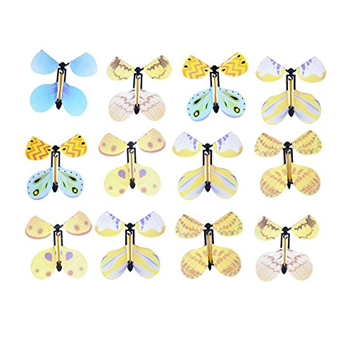 KODORIA 12pcs Flying Butterfly Classic Wind Up Swallowtail Butterfly Close Up Magic Set,Assortment