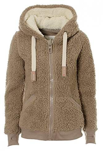 M Fleece Coat S Jacket XXL L Jumper Womens Soft Teddy Taupe Fuchia boutique Ladies Hooded Hoody XL yqvPz7X