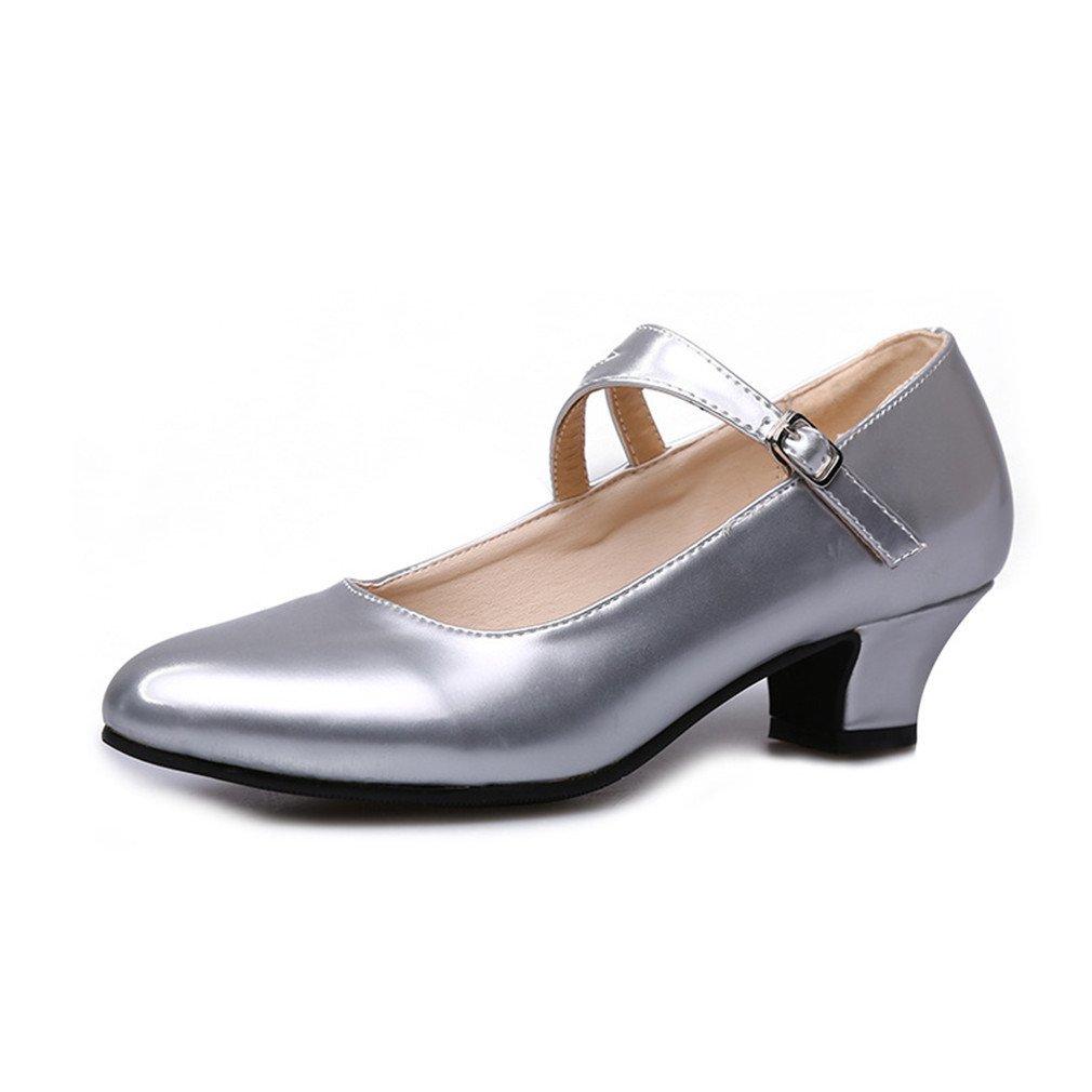 BYLE Leder Leder Leder Sandalen Riemchen Samba Modern Jazz Tanzen Schuhe Niedrige Weibliche Latin Tanzen Schuhe Flache Mund Einzelne Schuhe Silber 35 cm f3268b