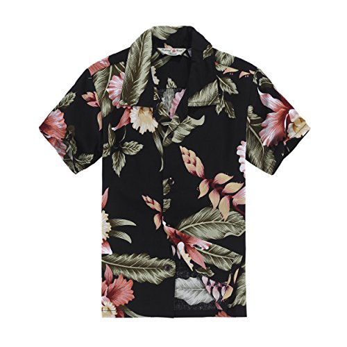 Boy Hawaiian Aloha Shirt in Black Rafelsia Size ()