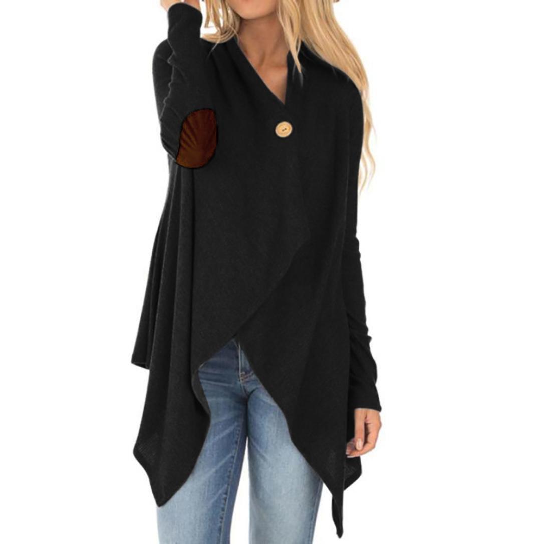 SMALLE Clearance Women Patchwork Irregular Open Front Long Sleeve Outwear Coat Tops (Black, M)