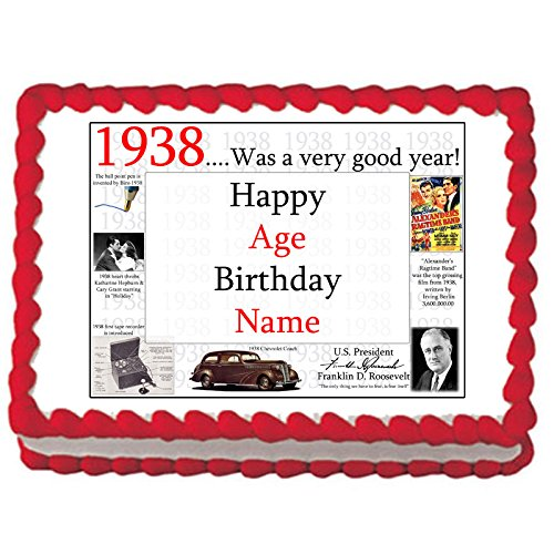 Partypro 1938 80th BIRTHDAY PERSONALIZED EDIBLE CAKE IMAGE