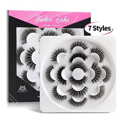 MAGEFY 7 Styles Eyelashes 3D 5D Lashes Handmade Falses Eyelashes Natural Thick Reusable Soft Fake Eyelashes 7 Pairs