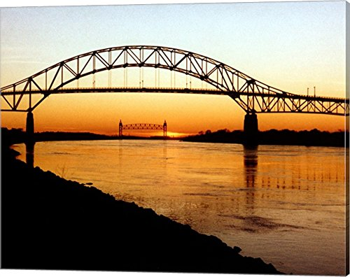 The Bourne Bridge Over The Cape Cod Canal Canvas Art Wall Picture, Gallery Wrap, 20 x 16 ()