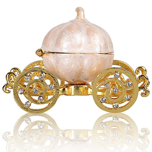 Pumpkin Cinderella Carriage Ring Box Trinket Jewelry Box Moving Wheels Crystals Accents Engagement Gift]()