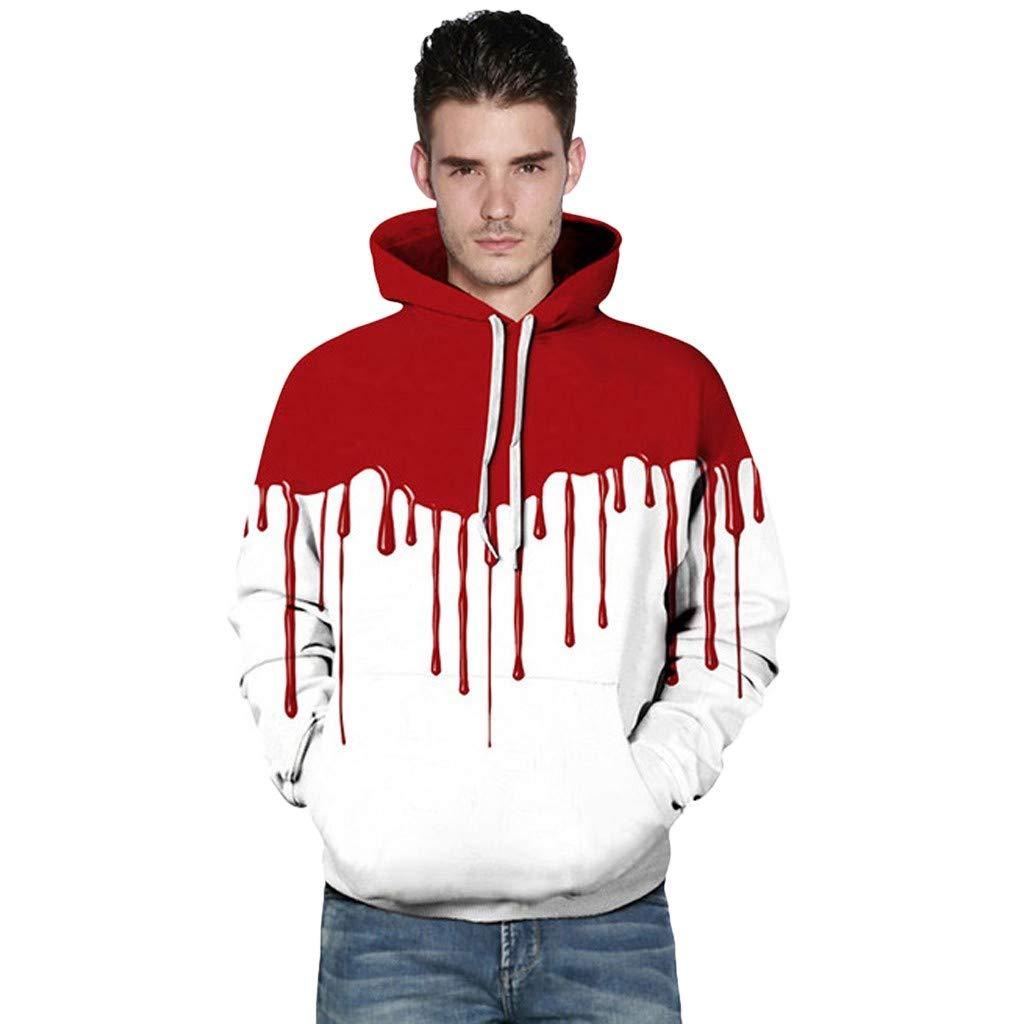 FIN86 Halloween Women Men Couples Blood Print Long Sleeve Hoodie Sweatshirt Pullover by FIN86