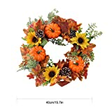 Fovolat Door Garland Decor Fall Wreaths for Front Door Wall Decorations Outdoor Garland for Halloween, Christmas, Thanksgiving 40cm 1pcs