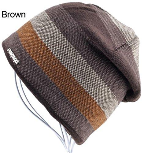 Teawander Men's Skullies Hat Bonnet Winter Beanie Knitted Wool Hat Plus Velvet Cap Thicker Stripe Skis Sports Beanies Hats For Men Brown