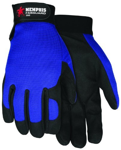 MCR Safety 900L Fasguard Parity by Clarino Synthetic Leather Palm Multi-Task Gloves with Blue Spandex Back and Adjustable Wrist Closure, Blue/Black, Large, 1-Pair by MCR Safety
