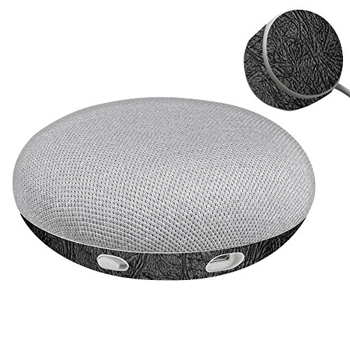 Leather Mini Wrap - MightySkins Skin For Google Home Mini - Black Leather | Protective, Durable, and Unique Vinyl Decal wrap cover | Easy To Apply, Remove, and Change Styles | Made in the USA