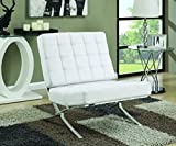Coaster White and Chrome Accent Chair For Sale