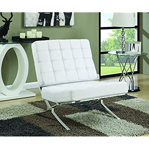 modern accent chairs. Coaster Mid-Century Modern Accent Chair With Chrome Legs, White Chairs