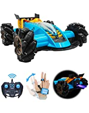 Drifting Stunt RC Car, 2.4GHz Remote Control Car With Gesture Control Band, Racing toy with speed tires 360 turns with LED Lights RC drift cars for Boys Birthday (Blue)