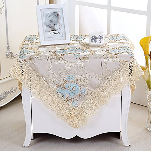 Bedside table cloth tablecloth cloth rectangular tea table table cloth pastoral lace small round table tablecloth tablecloth square-D - 51 Squared
