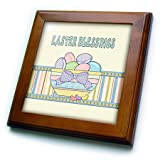 3dRose Beverly Turner Easter Design and Photography - Gingham Pastel Colored Basket Eggs, Bow, Jelly Beans Easter Blessings - 8x8 Framed Tile (ft_276169_1)