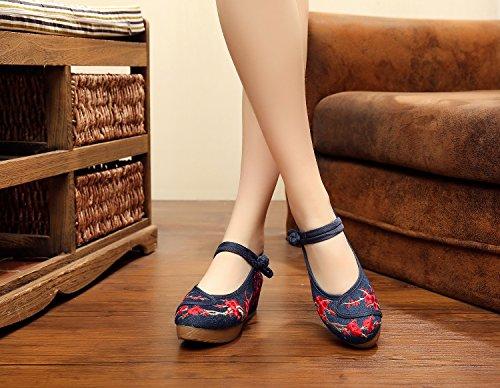 WXT Zapatos bordados de la tinta, lino, lenguado del tendón, estilo étnico, zapatos femeninos, manera, cómodo, zapatos de lona los 5cm denim blue