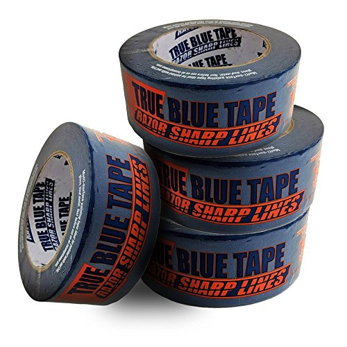 True Blue Premium Blue Professional Painter's Masking Tape – Indoor and Outdoor Use – Commercial Grade - Available in 2 Widths – Works on a Variety of Surfaces (2 Inch, 4-Pack) by True Blue