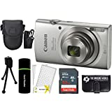 Canon PowerShot ELPH 20MP 8x Zoom Digital Camera (Silver) + 32GB Card + Reader + Case + Accessory Bundle 180