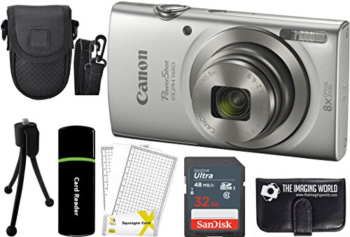 Canon PowerShot ELPH 180 20MP 8x Zoom Digital Camera (Silver) + 32GB Card + Reader + Case + Accessory Bundle (Equivalent Digital Camera Battery)