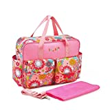 Outsta Mummy Floral Diaper Backpack,Fashion Multifunction Nappy Should Bag Bottle Bag Waterproof Travel for Baby Care,Large Capacity Nursing Children Bag,Durable and Stylish (Multicolor A)